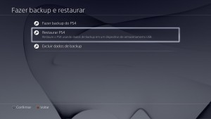 PS4 Menu Restaurar